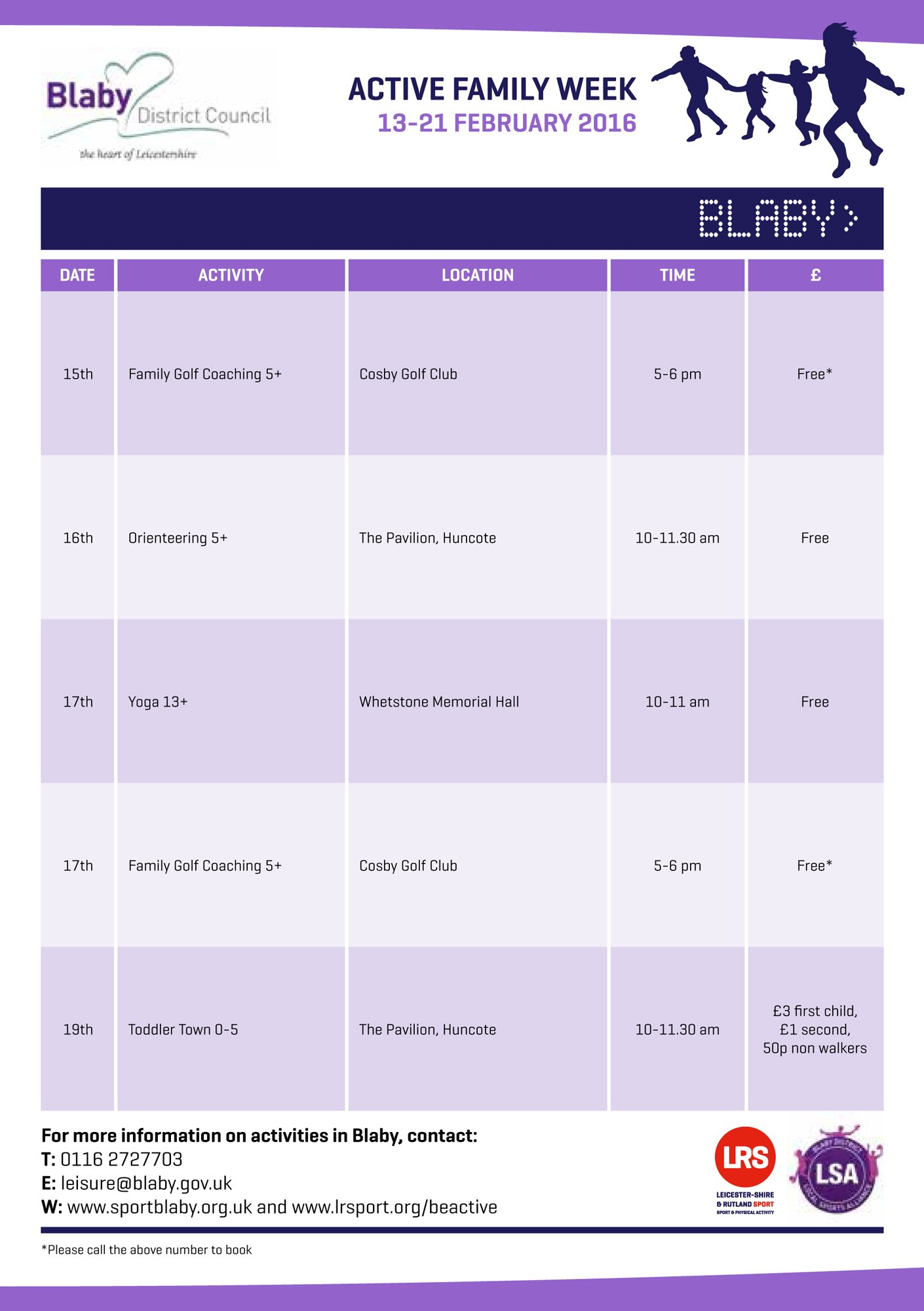 RT @BlabyDC: It's #activefamily week in the district this with plenty on offer. See what activities you can do! @LR_Sport https://t.co/PIe1…