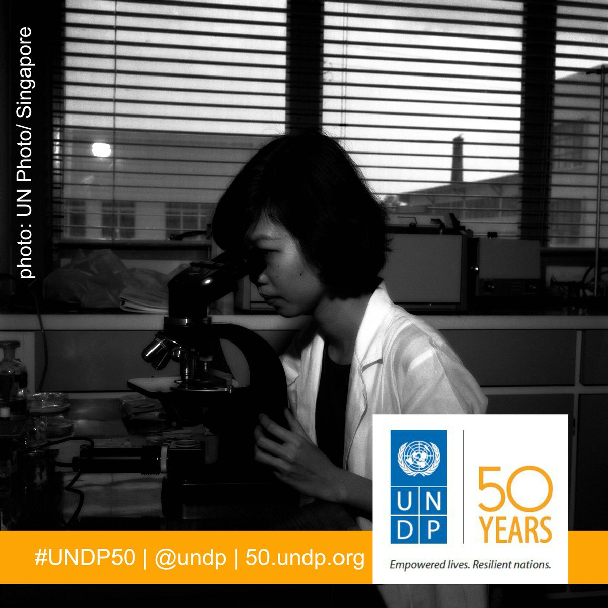 11 days til #UNDP50. 1 of our 1st #womeninscience from 1967 urban renewal project in Singapore. #WomeninScienceDay