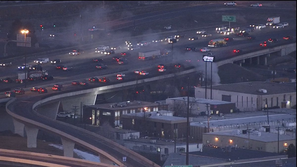 There is the car fire on that ramp from NB 25 to 8th Ave. Drivers on NB 25 are slowing because of it.