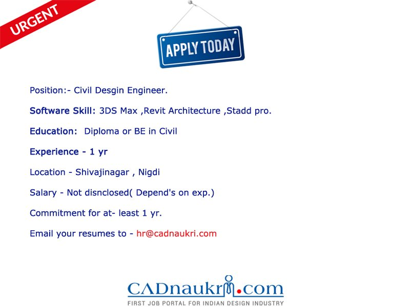 Cadnaukri Com Jobs On Twitter Job Opening For Civil Design Engineer In Shivajinagar Nigdi Expert In 3dsmax Revitarchitecture Staddpro Https T Co Otmi4k8pqv