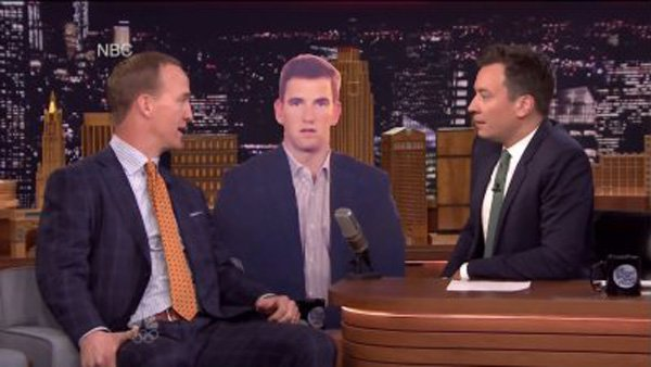 WATCH: @Broncos Peyton Manning has fun with Eli's 'Super Bowl face' on 'Tonight Show'