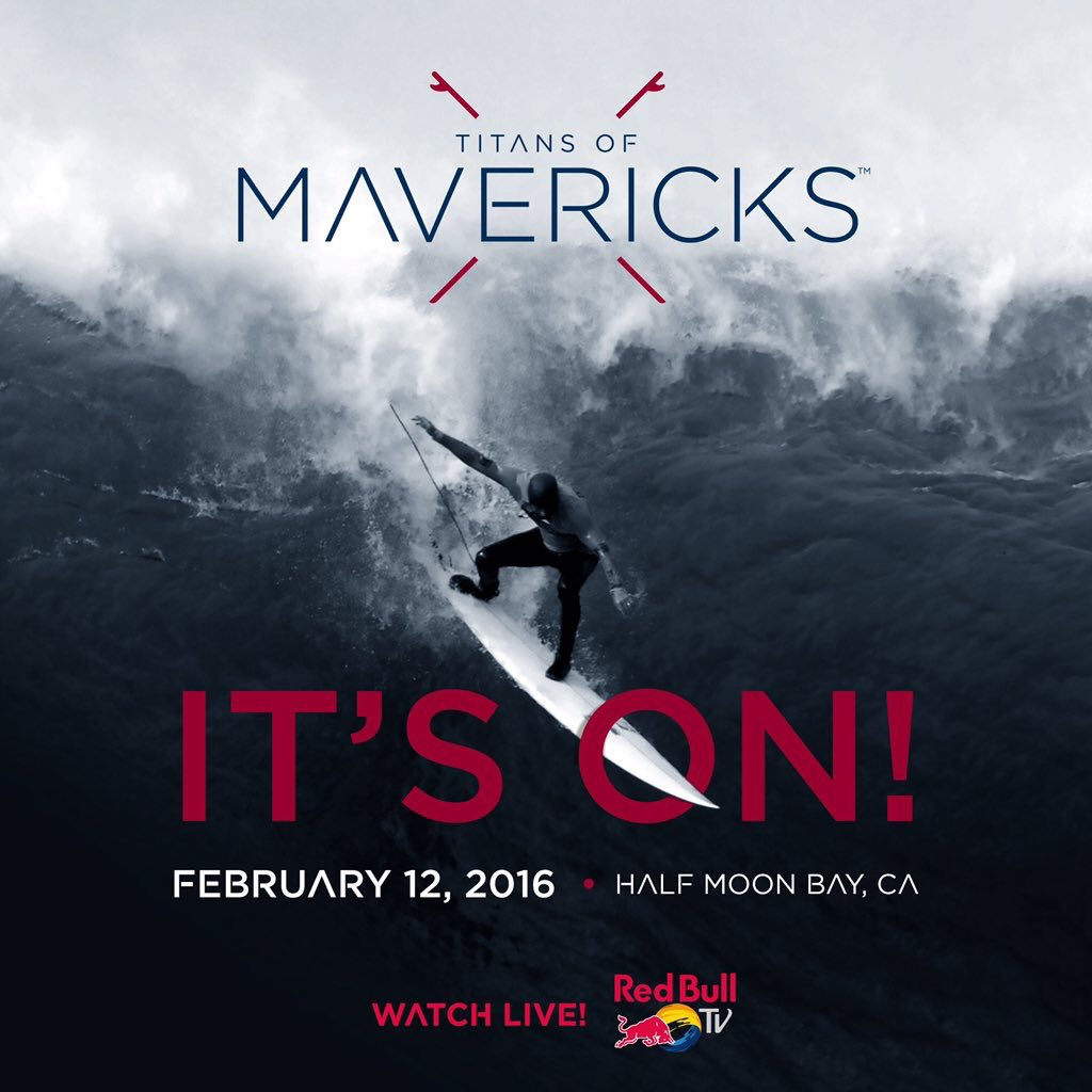 TitansofMavericks is on! Tomorrow big waves and surfers collide!(Photo from @titansofmavs)