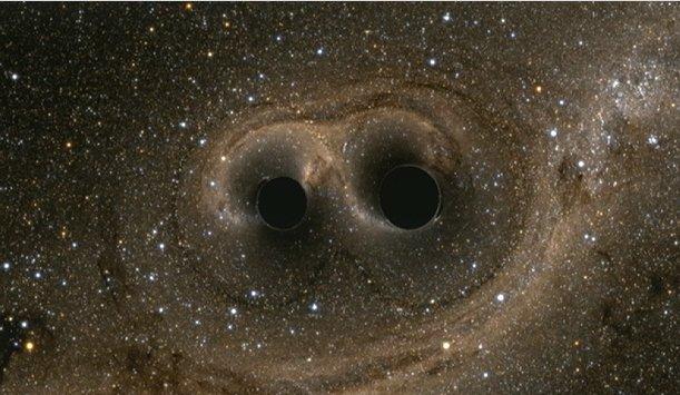 #gravitationalwaves produced as 2 black holes, each 30x mass of sun, merge #LIGO. https://t.co/8z2UdMDGDD