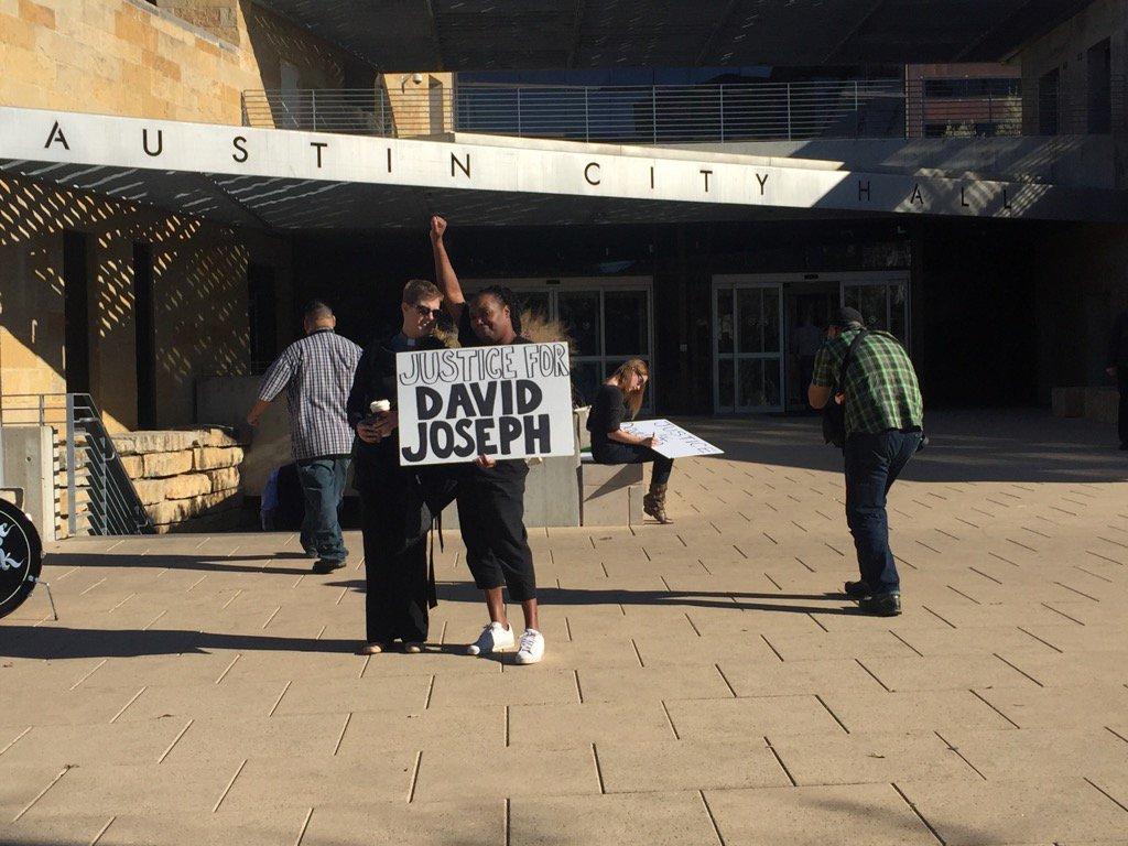 BlackLivesMatter peaceful protest at @austintexasgov city hall in response to APD shooting death of DavidJoseph