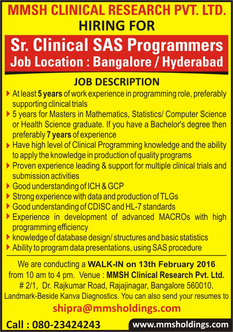 "mmsh clinical research pvt ltd  MMS on Twitter: ""We are hiring Senior Clinical Programmers in India ..."