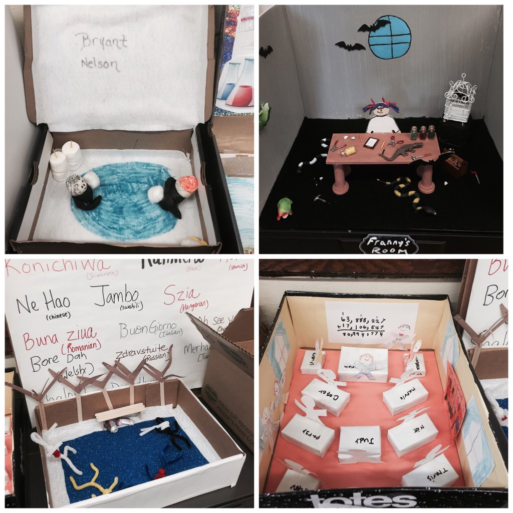 Love the dioramas that my students created as a culminating project for their novel study! #rmbacon #mrssinonesclass https://t.co/pNkgM5AlTb