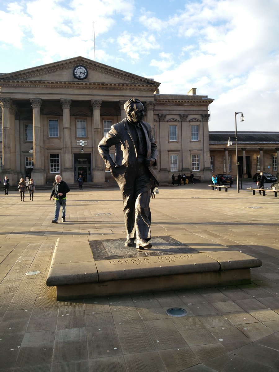 Harold's statue in front of Huddersfield station