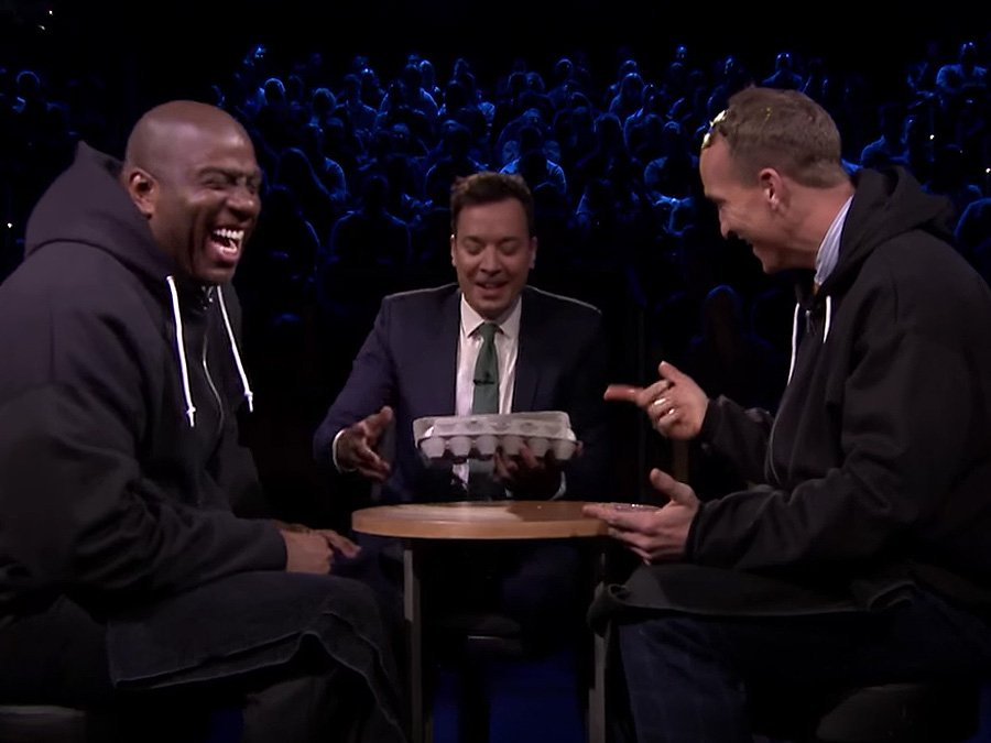 WATCH: Egg Russian Roulette with Peyton Manning, Magic Johnson Can't. Stop. Laughing.