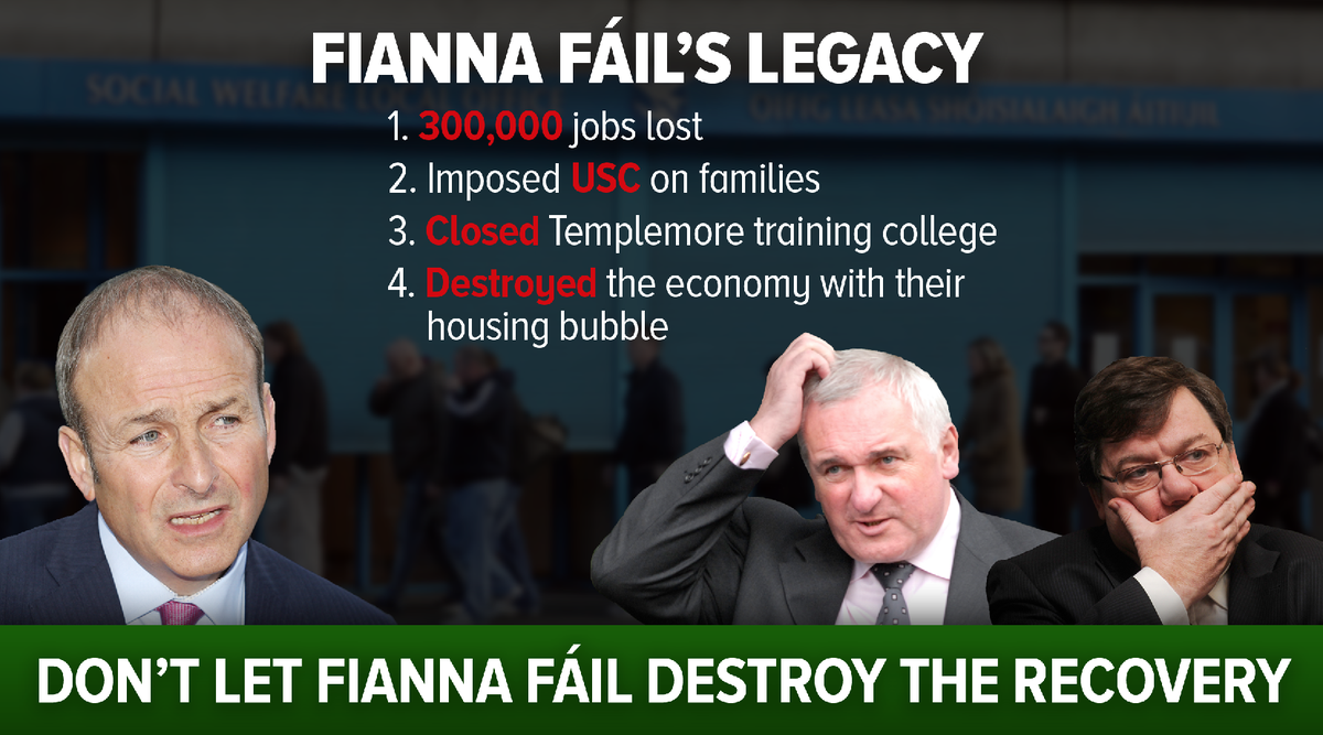 This is Fianna Fáils REAL legacy. They DESTROYED 300,000 jobs & wrecked the economy. Hit RT! #leadersdebate