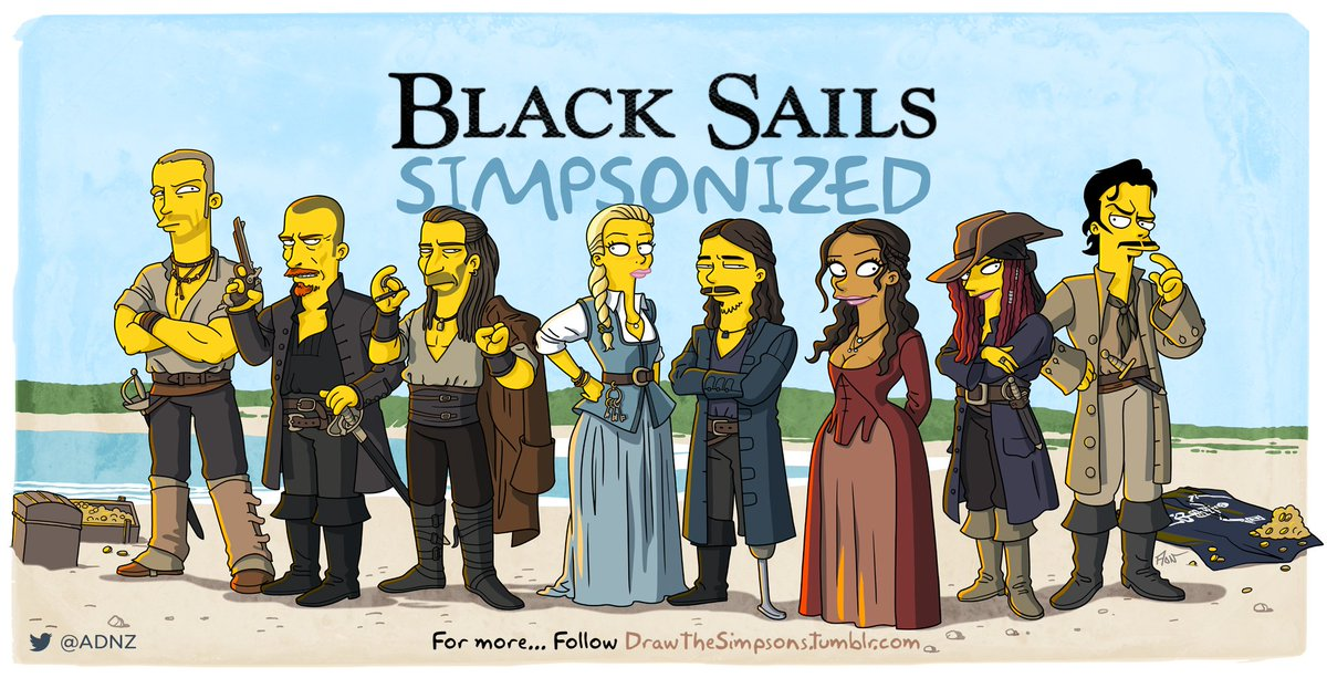 The @BlkSails_Starz cast #Simpsonized > @Tomhopperhops @ClaraPaget @TobyStephensInV @Zach_McGowan @ScrambledLuke https://t.co/QI4BDUwZM9