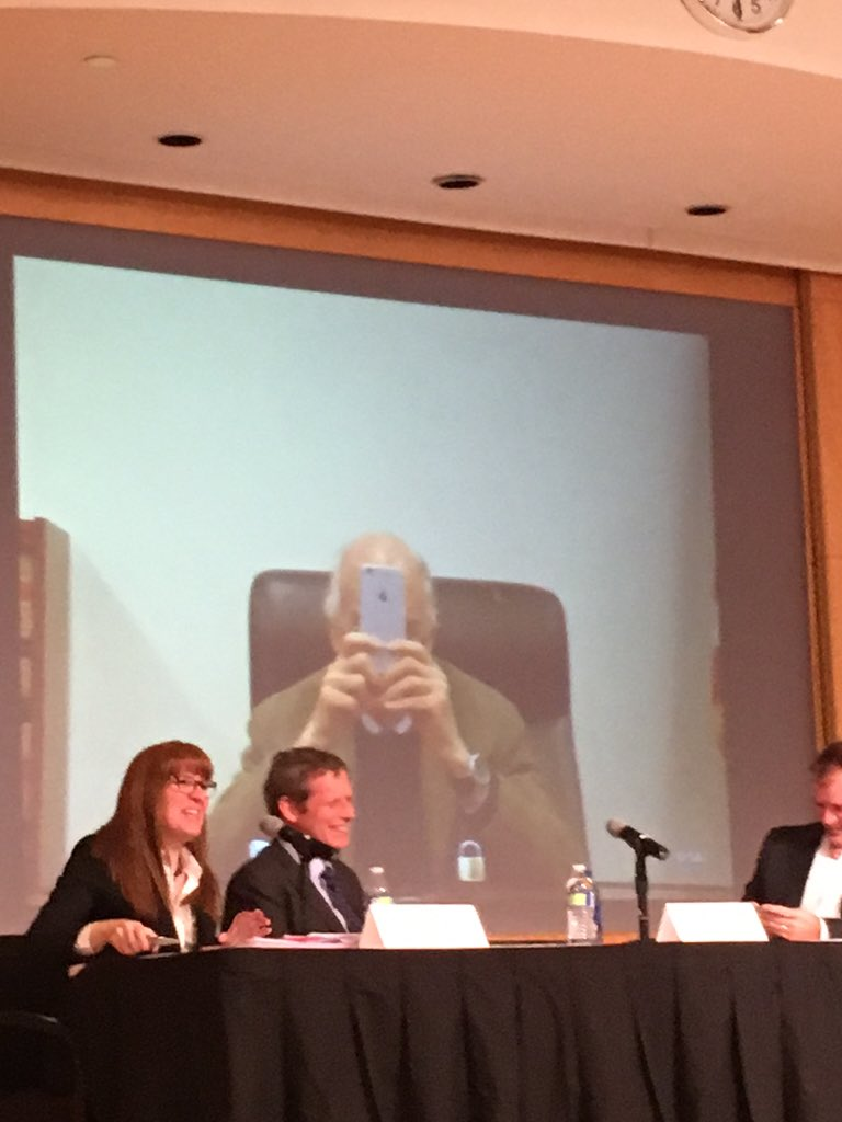 Judge Posner taking a picture during live symposium on cameras. #GSULawSymposium https://t.co/JSAIZQr1bj