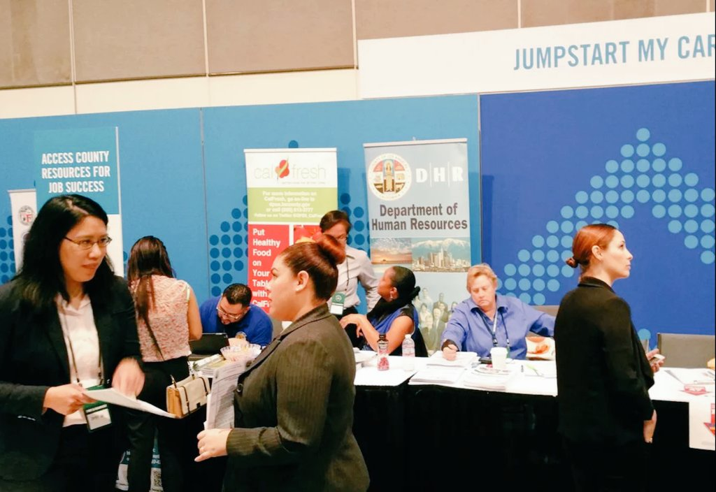 RT @LACountyDHR Ages 16-24 #100kOpportunities #jobfair going on til 4pm today @ #LAConventionCenter. Come visit us & #startsomewhere