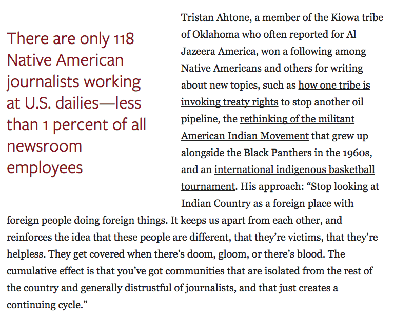 Want better Native American coverage? Hire more Native Americans https://t.co/LkC5K3pZI8 @najournalists @Tahtone https://t.co/6Ww5F7ekB8