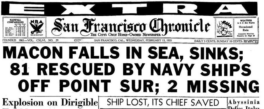 When the USS Macon airship crashed into the sea. ChronicleCovers via @TimothyORourke