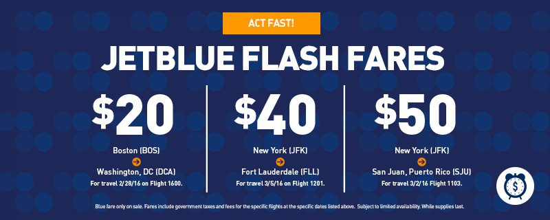 ✈ ✈ ✈ It's time for #JetBlueFlashFares! Book limited-time, low fares now! +Restr https://t.co/eA5jqLxxB6 https://t.co/Lu5GbbcdfJ