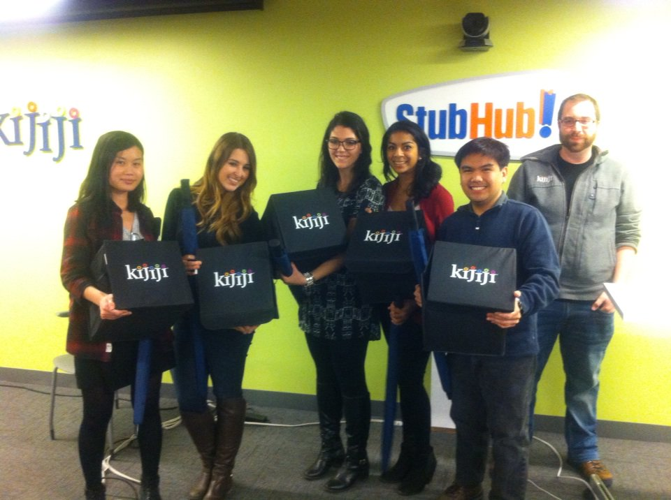 My team from the design jam with our Kijiji prize packs.
