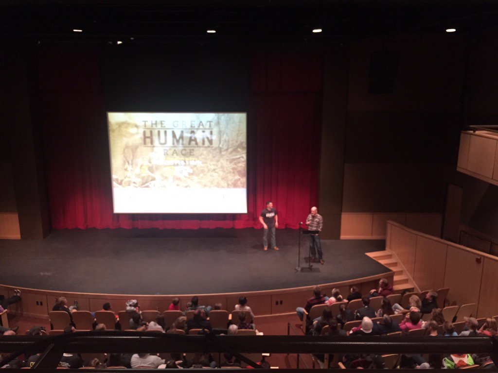 Full house for this premiere! #GreatHumanRace @DrBillSchindler @washcoll https://t.co/s8ct9BT9ta