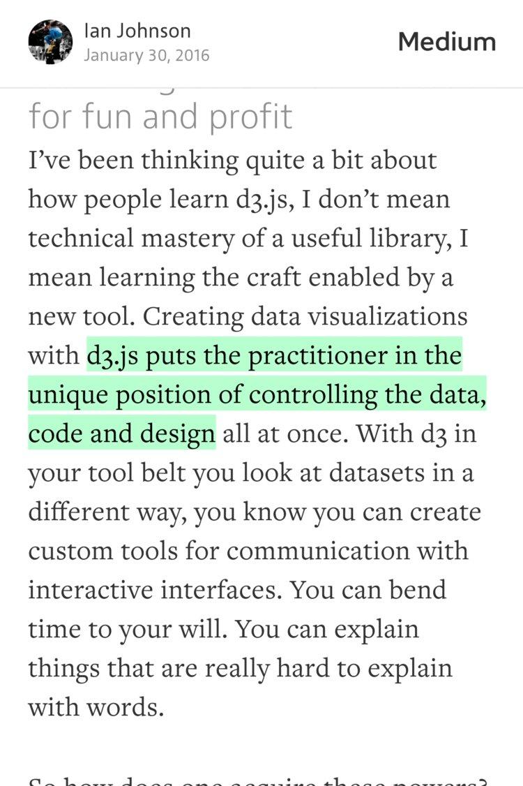 """#d3.js puts you in the position of controlling #data & #design…""—@enjalot https://t.co/8rPd9pBBgM https://t.co/L7P2HYIV8r"