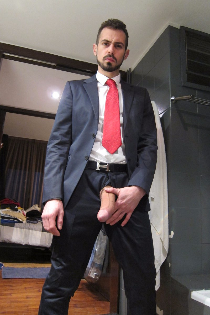 Big suit man with business cock in