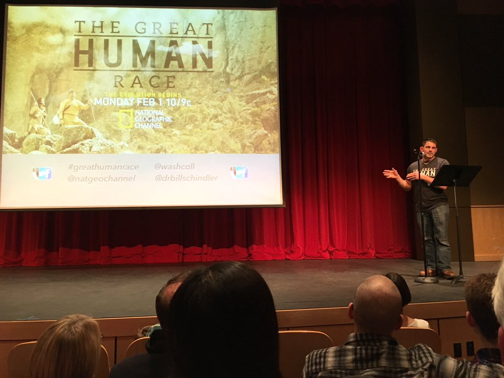 So excited to watch the world premiere of #GreatHumanRace with @Bill_Schindler at @washcoll https://t.co/vnreB9UtYk
