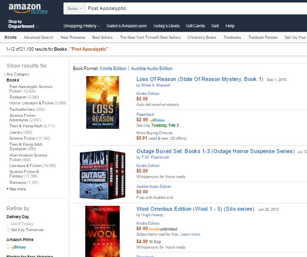 Can't believe I'm topping Hugh in a category! (just barely) Loss Of Reason  is #1 in Amazon Books for search term