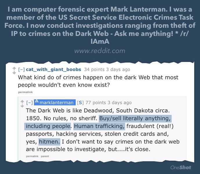 "in reddit AmA dark web ""expert"" repeats urban myth that people & hitmen can be bought  https://t.co/dnUsZebEdu https://t.co/6rjoeNVxUM"