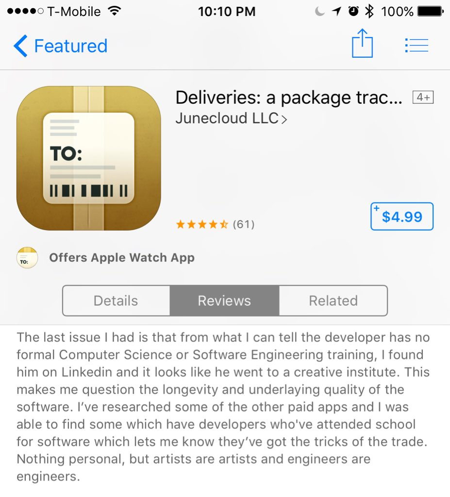 This review has me cracking up. Dude has beef with the app because developer went to a creative institute. https://t.co/L4YC5FjjCG