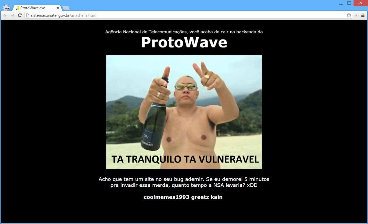 """Hackers deixam mensagem no site da Anatel: """"tá tranquilo, tá vulnerável"""" » https://t.co/4hWDb9PhpJ"""