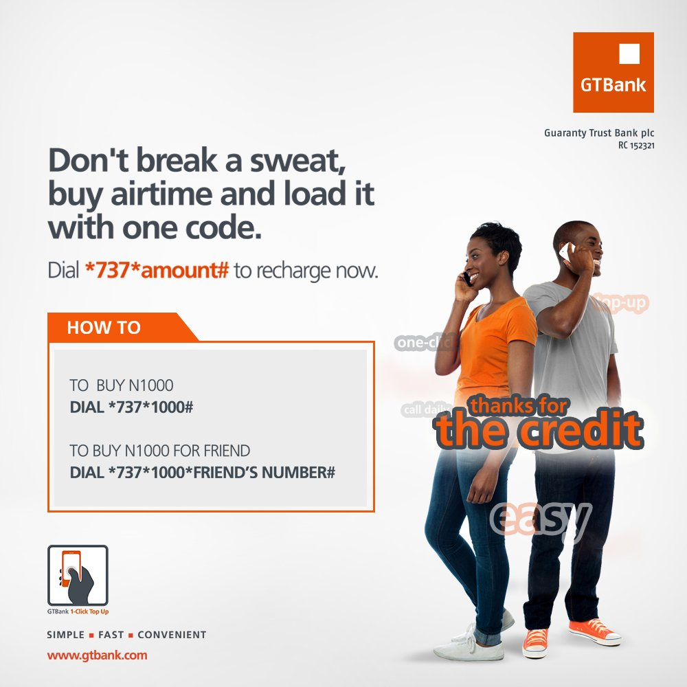 With gtbank 737 recharge, you can buy airtime whenever you