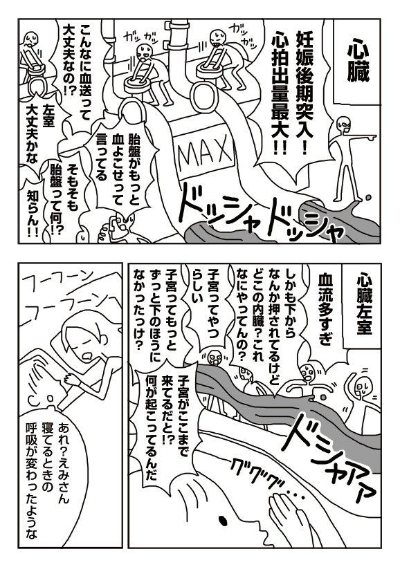 【漫画】妊娠後期の内臓の中の人たち