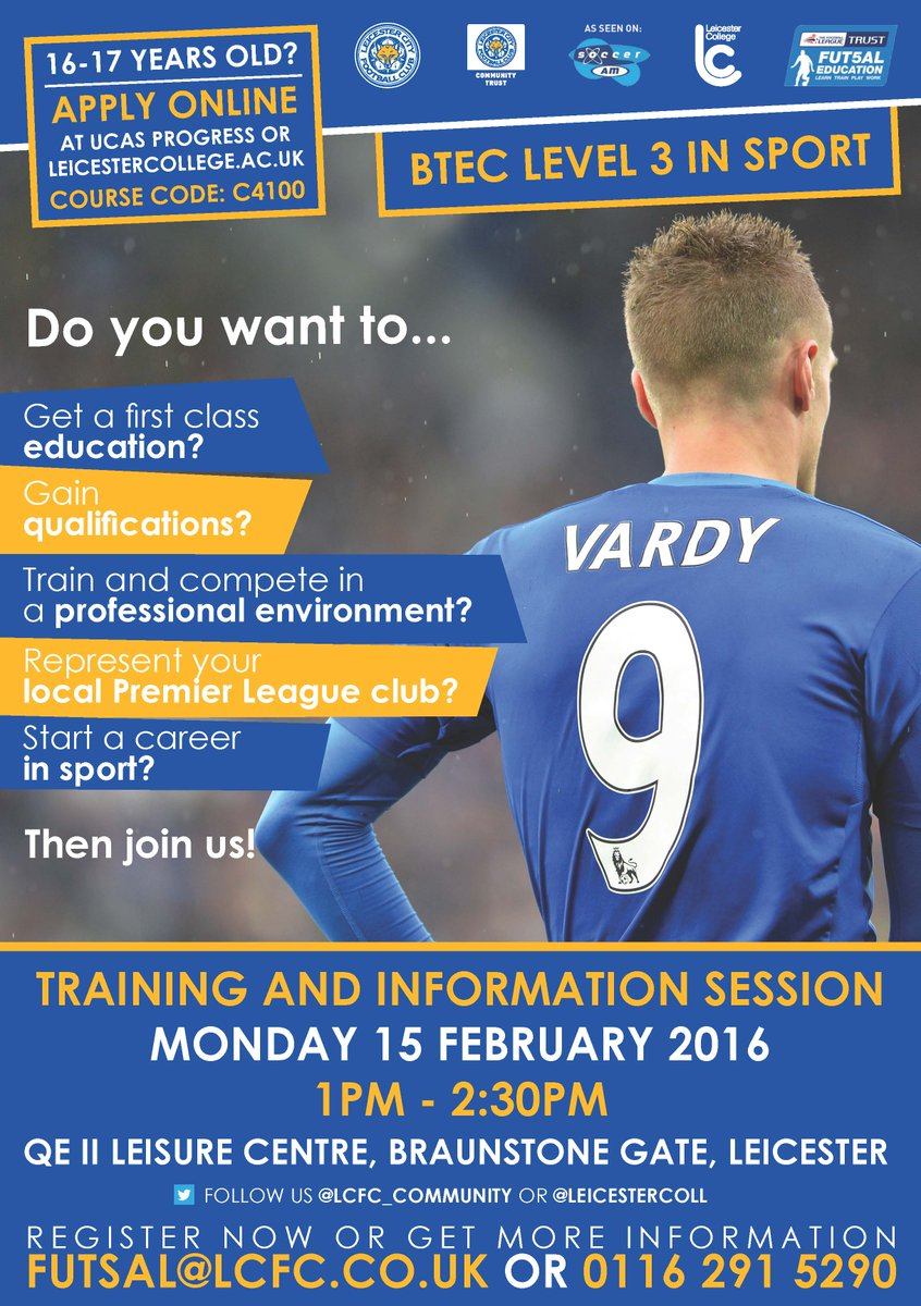 Leicester City On Twitter Do You Want To Start A Career In Sport Join Us On 15 February To Find Out How At Btec Level 3 In Sport Can Help You Https T Co Nu6brlqah4