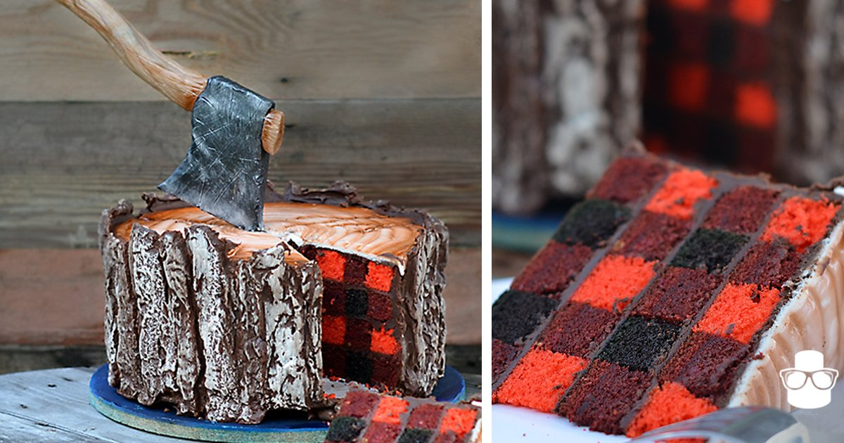 A Lumberjack #Cake With An Edible Axe And A Plaid Pattern Inside https://t.co/XhgPHNElAp https://t.co/W7aEt1jhrj