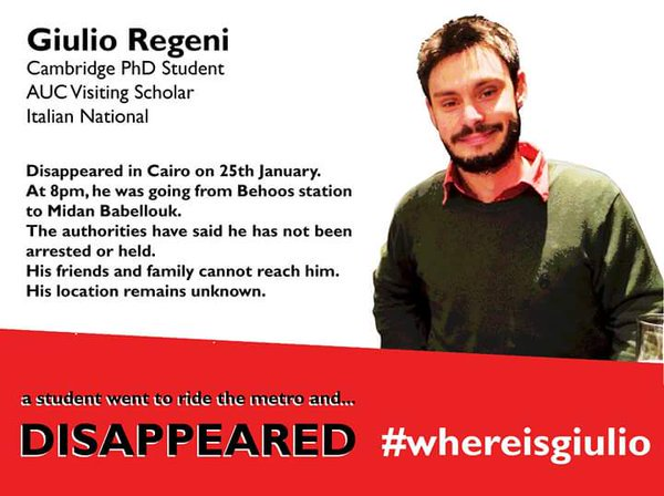 #WhereisGiulio campaign launched to find Cambridge PhD student missing in Egypt: https://t.co/wtCtkLqJJT https://t.co/PMkt9nKPLs