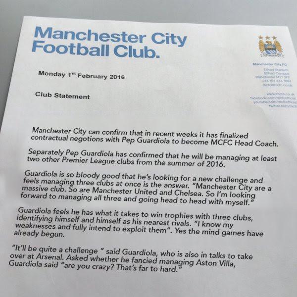 A reminder of Man City's statement about Pep Guardiola. https://t.co/vvPImPFyEQ
