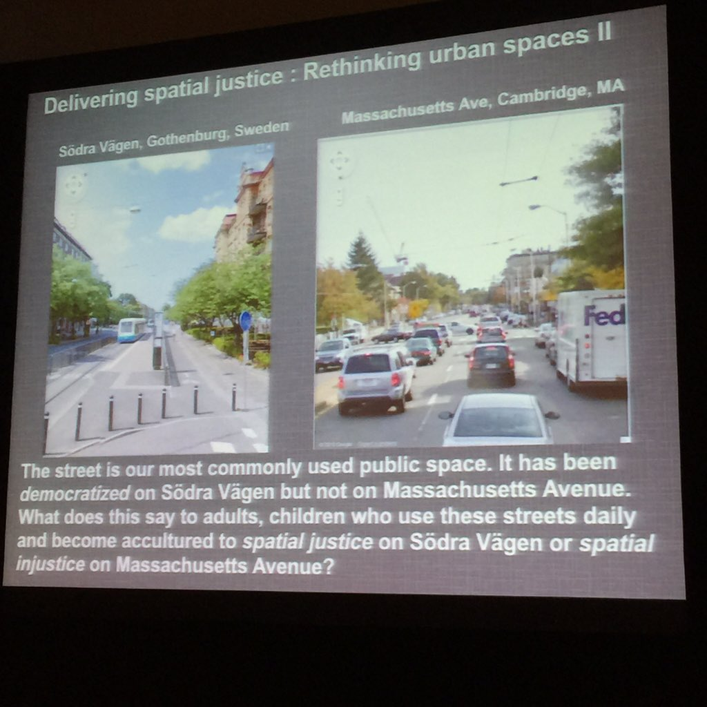 Democratized street vs non-democratized street. That's what spatial justice looks like! ~ @julianagyeman #ALR2016 https://t.co/1NySvQDJpY