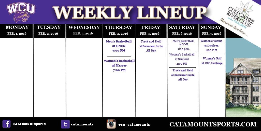 WCU athletic schedule (thru 2-7-16)