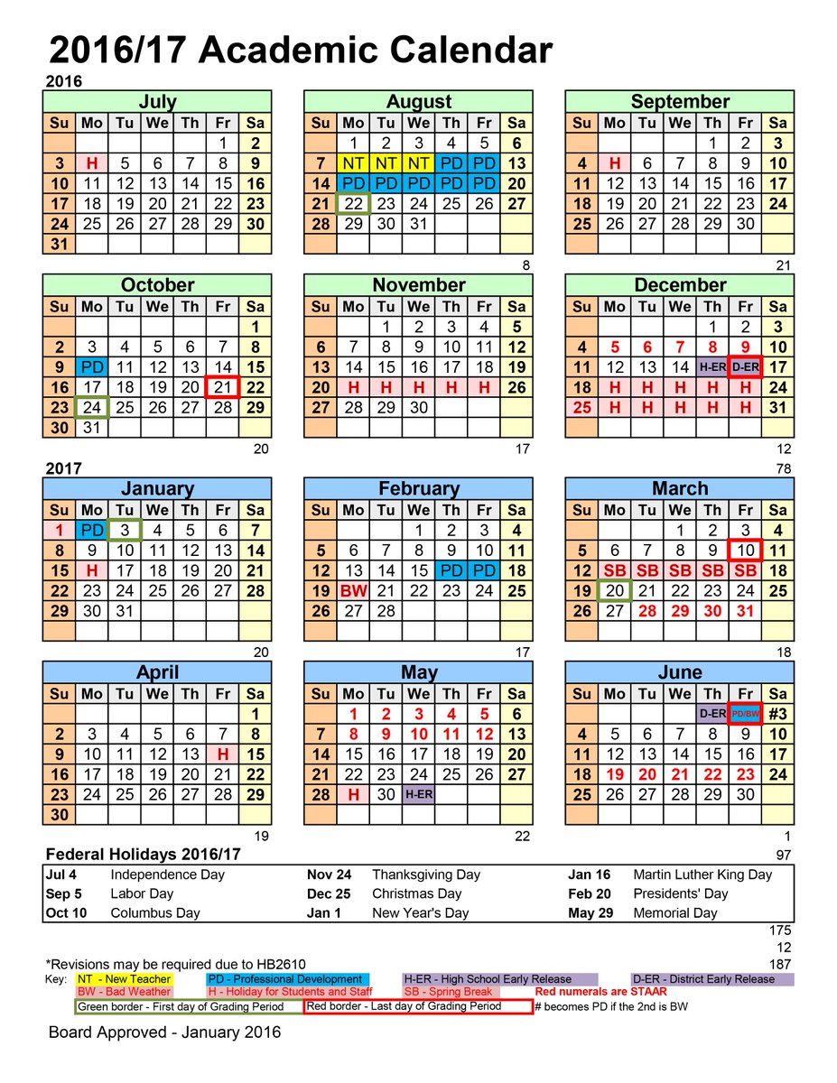 lake travis isd on twitter the 2016 2017 calendar is now available get your first look at next years important dates httpstconk6kziluxv