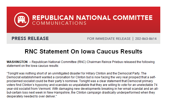 RNC statement on #IowaCaucus. Doesn't even mention winner @tedcruz -- simply slams Clinton https://t.co/gjTxe1YyBf