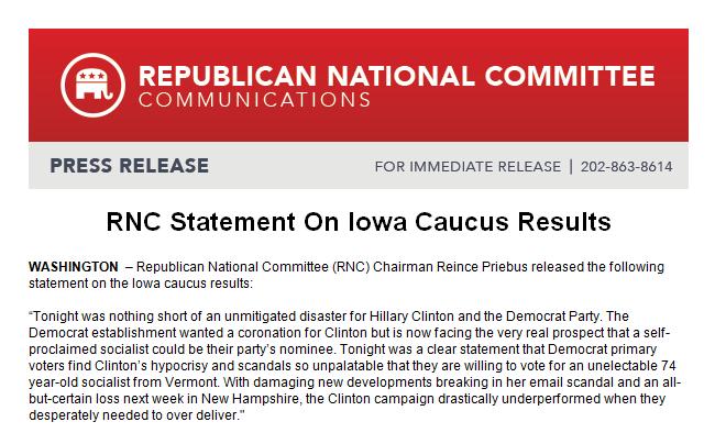 RNC statement on #IowaCaucus. Doesn't even mention winner @tedcruz -- simply slams Clinton https://t.co/gjTxe1YyBf