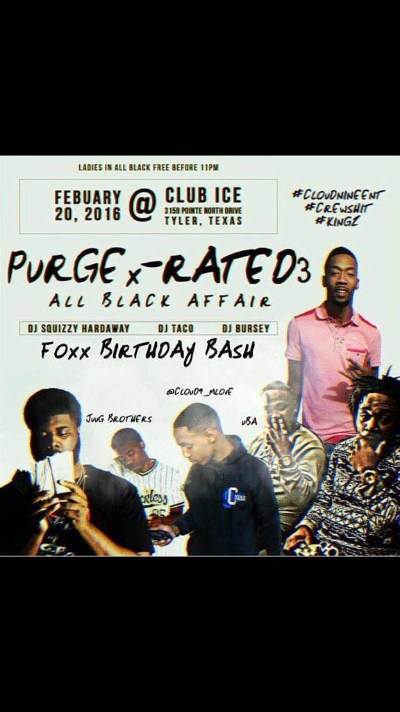 #PurgeXrated3 February 20 @yung12foxx bday bash https://t.co/8EiW5du0Ta