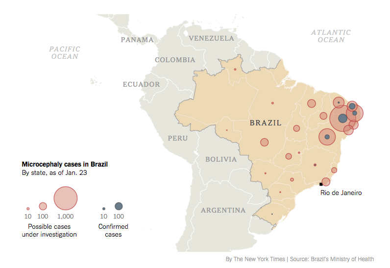 NYT Health On Twitter Map The Growth Of Microcephaly In Brazil - Argentina zika map