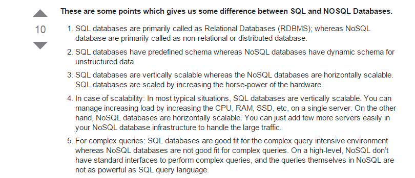 SQL vs NoSQL - Most up voted answer from stackoverflow