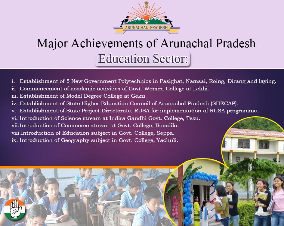 Major Achievements of #ArunachalPradesh in Education Sector. @INCIndia @yuvadesh @OfficeOfRG