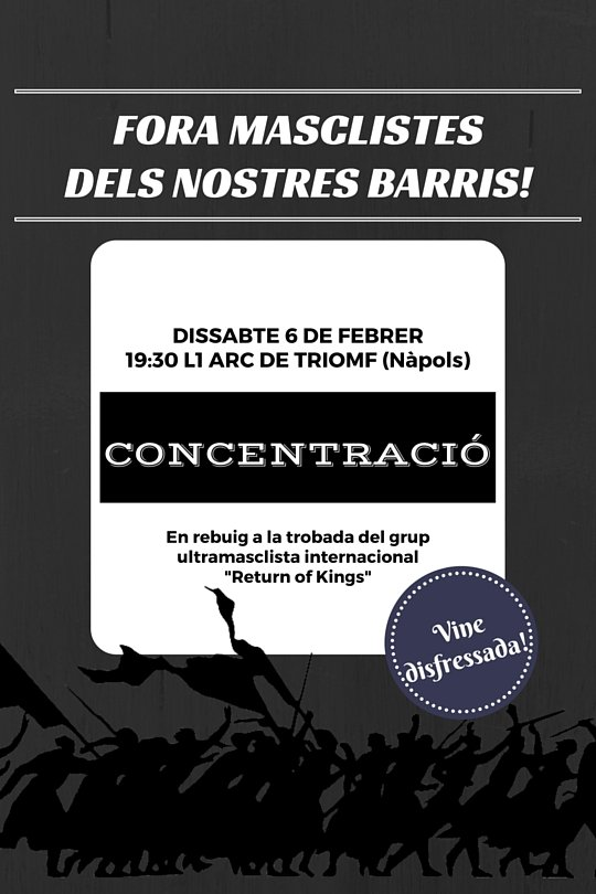 Diss. 6F 19.30h concentració contra el grup ultramasclista internacional Return of King #AlertaFeminista https://t.co/sWHYWCaTY2