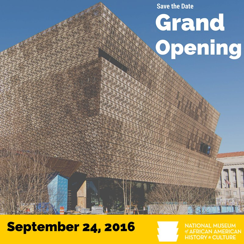 It's official! We open on 9/24/2016. Learn more about us here: https://t.co/kSSQR82sfO #SaveTheDate #BuildNMAAHC https://t.co/seTkzsXqC1