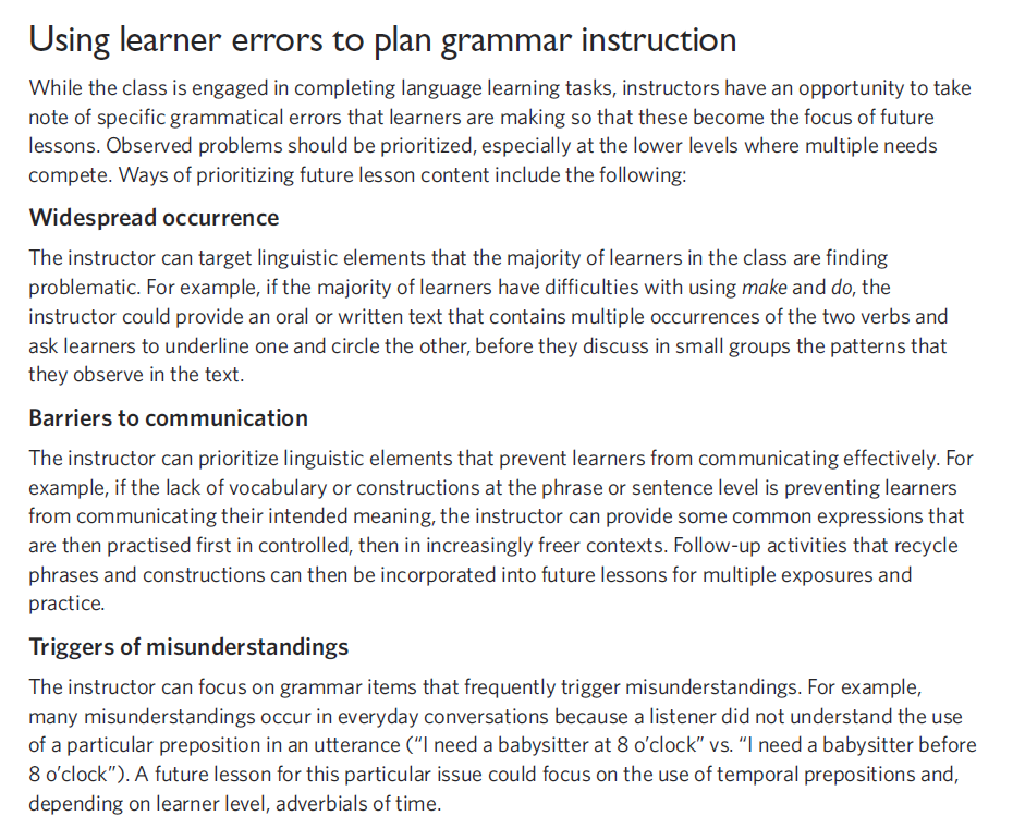 """From the CLB Support Kit: """"Using leaner errors to plan grammar instruction"""" https://t.co/TQ2VtiWpdm #LINCchat https://t.co/qKhtVzRgQl"""