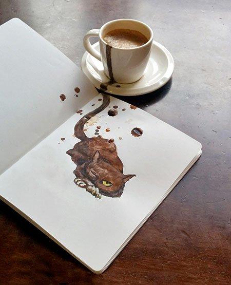 La artista rusa Elena Efremova usa diferentes cafés para retratar hermosos gatos >>