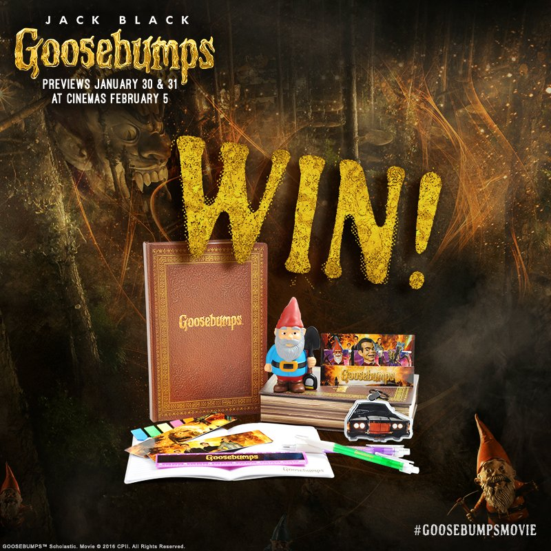 Win! Follow @CultBoxTV and RT for chance to win one of 3 sets of @GoosebumpsMovie goodies - https://t.co/HGSOSFtoRb https://t.co/yCK4eW67nt