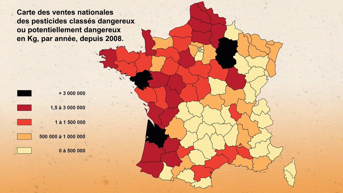 EXCLUSIF #CashInvestigation Découvrez la carte de vente des pesticides en France https://t.co/bx1RImgNRy