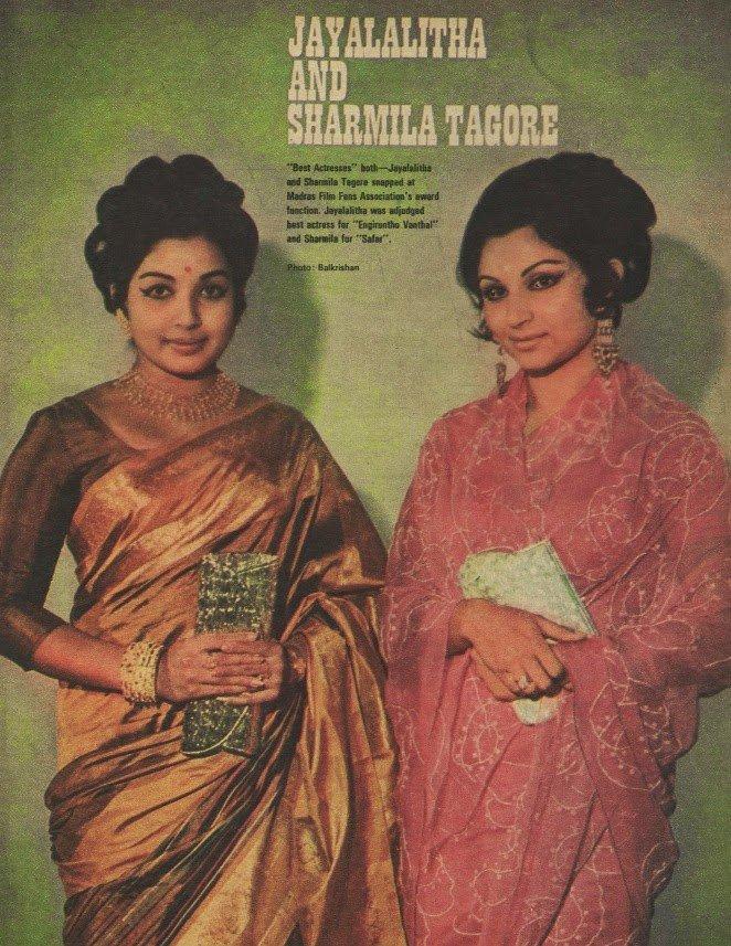 Jayalalithaa & Sharmila Tagore. #Vintage https://t.co/30opU52uK9